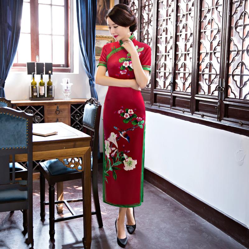 [해외] 여성의 벨벳 드레스 긴 청바지 QiPao 이브닝 공식 드레스 드레스 짧은 Retail qipao M - 3XL 꽃 qipao 롱 드레스/Chinese Women&s velvet Dress Long Cheongsam QiPao Evening Formal Dres