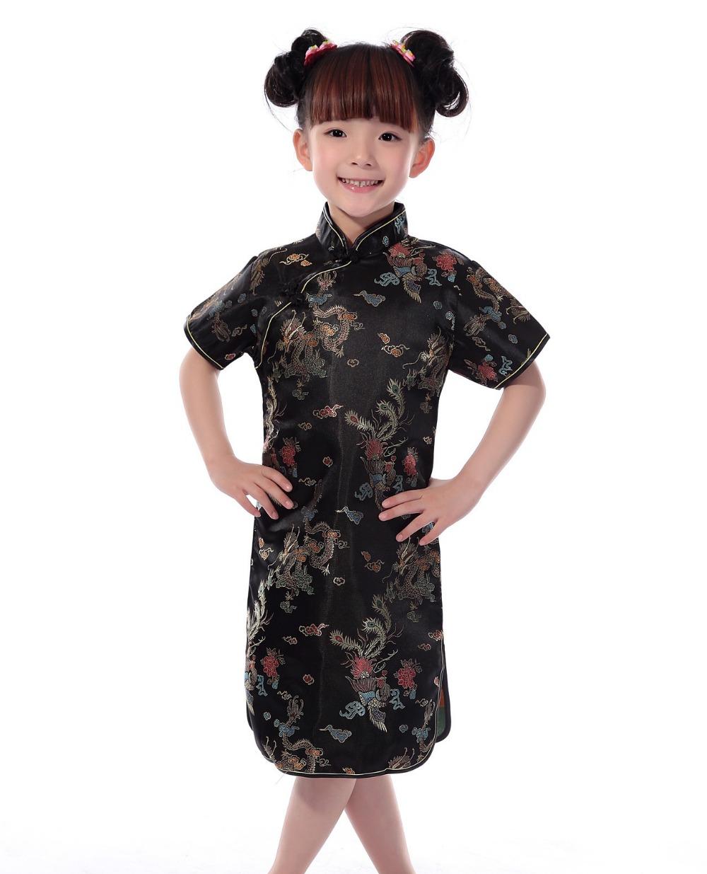 [해외]상해 이야기 러시아 핫 세일  아이 아이 소녀 드래곤 Cheongsam 복장 소녀 Qipao 가짜 실크 옷/Shanghai Story Russia Hot sale Chinese Kid Child Girl Dragon Cheongsam Dress girls Qip