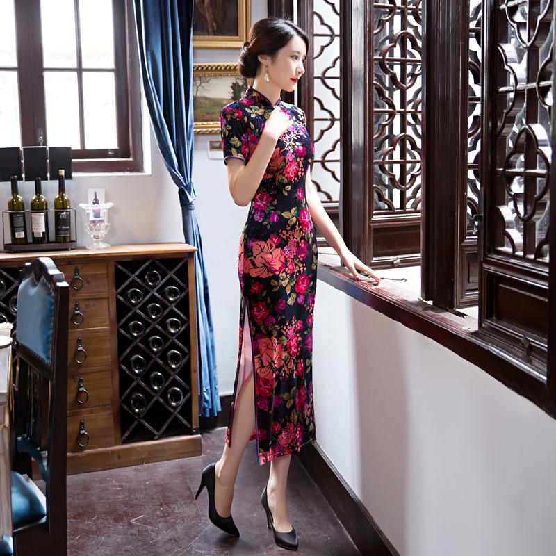 [해외]무료 2017 짧은 Retail 긴 드레스 Qipao 중년  드레스  스타일의 골드 벨벳 cheongsam 드레스/free  2017 short sleeve long dress Qipao Middle age Chinese Dress  chinese style g