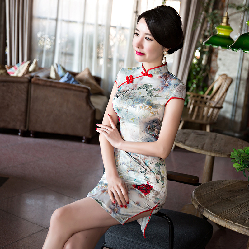 [해외] 2017 어 실크 cheongsam 패션 짧은 드레스 소녀 드레스 얇은 드레스 qipao/Free ship 2017 chinese Silk cheongsam fashion short dress girl dress  thin  dresses qipao