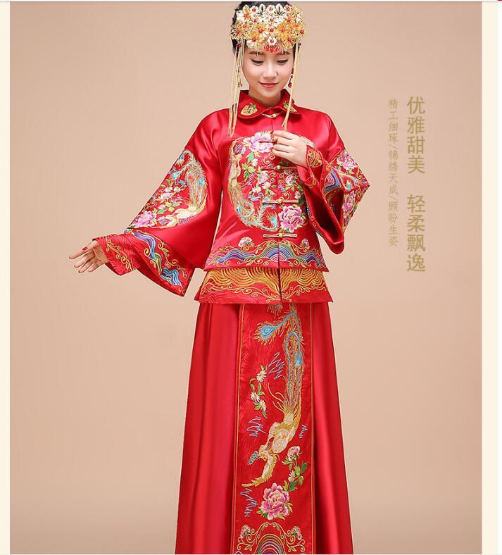 [해외]2017 새로운 피닉스 쇼 기모노 어 웨딩 드레스 여자 전통 cheongsam 드레스/2017 New Phoenix show kimono Chinese wedding dress Woman Traditional cheongsam dress
