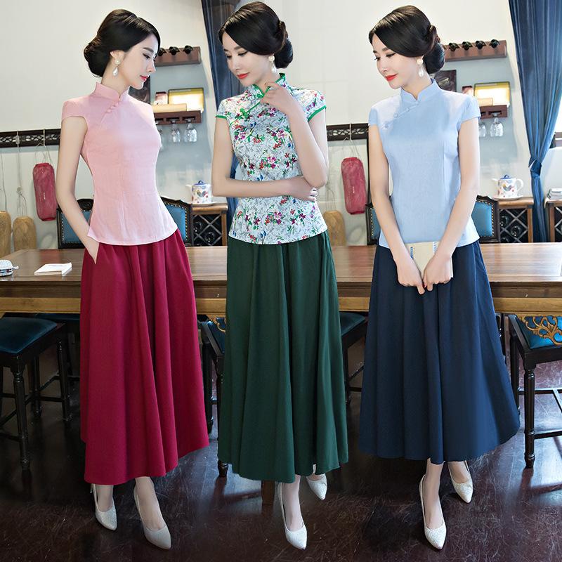 [해외]2 PC의 탑 + 스커트 어 번체 복장 여자 고대 국립 청산 여자 긴 Retail 여자 여자 당나라 의상 Qipao 9/2 Pcs Tops+skirt Chinese Traditional Dress Women Ancient National Cheongsam Fem