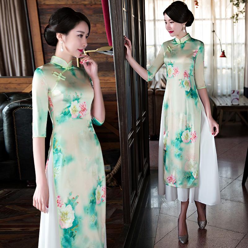 [해외]새로운 여름 짧은 Retail 레트로 Qipao 어 스타일 Cheongsam 긴 드레스 현대 Cheongsam 여성을저녁 파티 드레스/New Summer Short Sleeved Retro Qipao Chinese Style Cheongsam Long Dress
