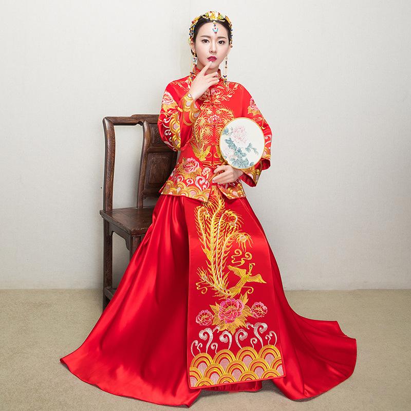 [해외]어 번체 가운 2017 새로운 웨딩 Cheongsam 여성 피닉스 자수 복장 현대 Qipao 빨간 동양의 드레스/Traditional Chinese Gown Bride 2017 New Wedding Cheongsam Women Phoenix Embroidery