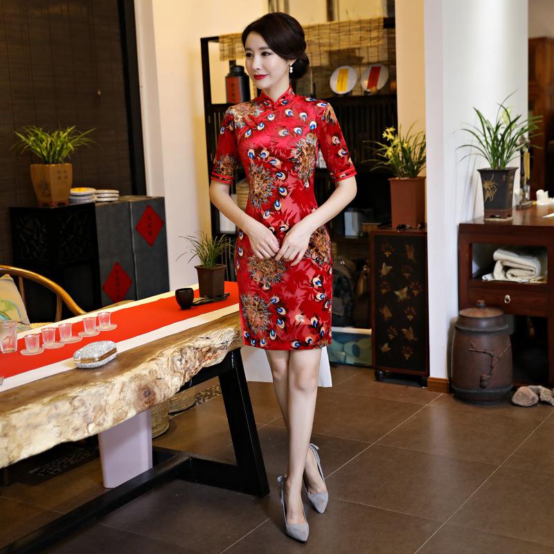 [해외]빨간색 짧은 QiPao 벨벳 파티 드레스 칵테일 이브닝 드레스 어 Cheongsam Qipao 드레스 M-3XL/Red Short QiPao Velvet Party Dress Cocktail Evening Dress Chinese Cheongsam Qipao D