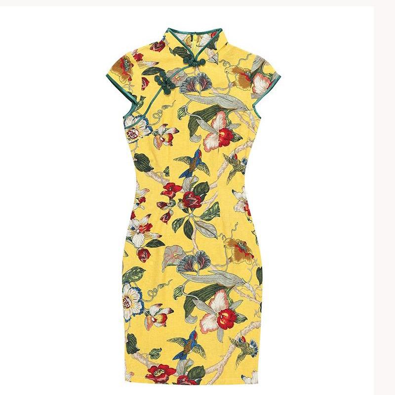 [해외]2018 여름 새로운 어 번체 미니 드레스 여성 짧은 Qipao 패션 코튼 린 넨 Cheongsam 꽃 Mujer Vestido 120520/2018 Summer New Chinese Traditional Mini Dress Women Short Qipao Fa