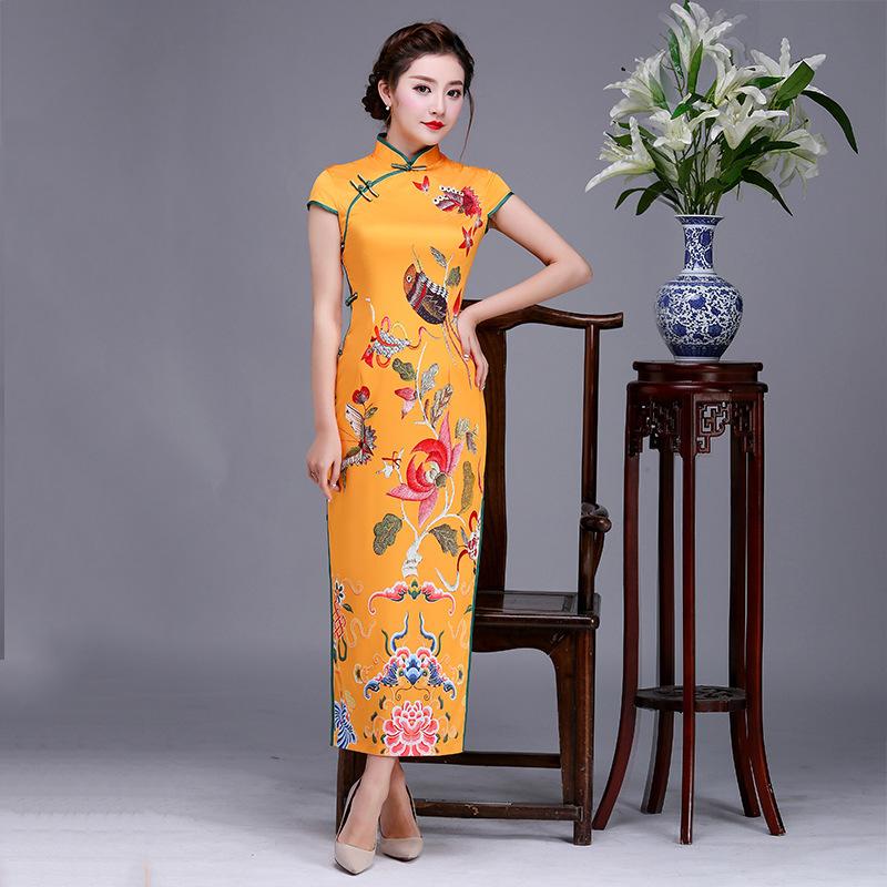 [해외]패션 2018 빈티지 Cheongsam 긴 Qipao는 노란 우아한 레트로 드레싱 가운 어 번체 드레스 로브 오리엔탈 드레스/Fashion 2018 Vintage Cheongsam Long Qipao Dresses Yellow Elegant Retro Dress