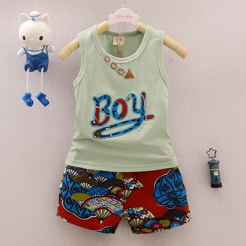 [해외]BibiCola 키즈 소년 여름 의류 세트 2017 새로운 민Retail 편지 조끼상의 + 인쇄 플로랄 반바지 아동 면화 스포츠 슈트/BibiCola Kids Boys Summer Clothing Sets 2017 New Sleeveless Letter Vest