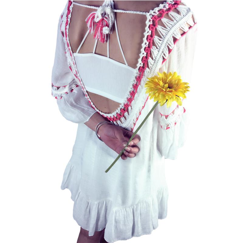 [해외]보헤미안 크로 셰 뜨개질 여성 블라우스 셔츠 여름 해변 탑 커버 섹시한 등이없는 프릴 패치 워크 캐주얼 루즈 보우 신사 Blusas/Bohemian Crochet Women Blouses Shirts Summer Beach Tops Cover Up Sexy Ba