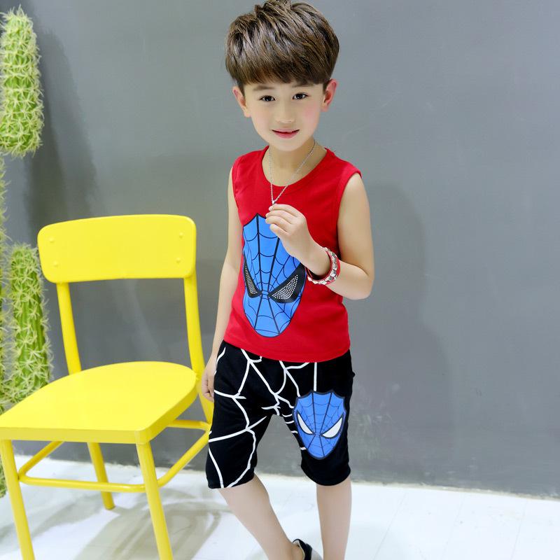 [해외]2017 여름 어린이 키즈 스포츠 의류 세트 스파이더 맨 민Retail 탑스 + 바지 2PCS 아이 옷 세트 소년 의상 3-7 년/2017 Summer Children Kids Sport Clothing sets Spiderman Sleeveless Tops+P