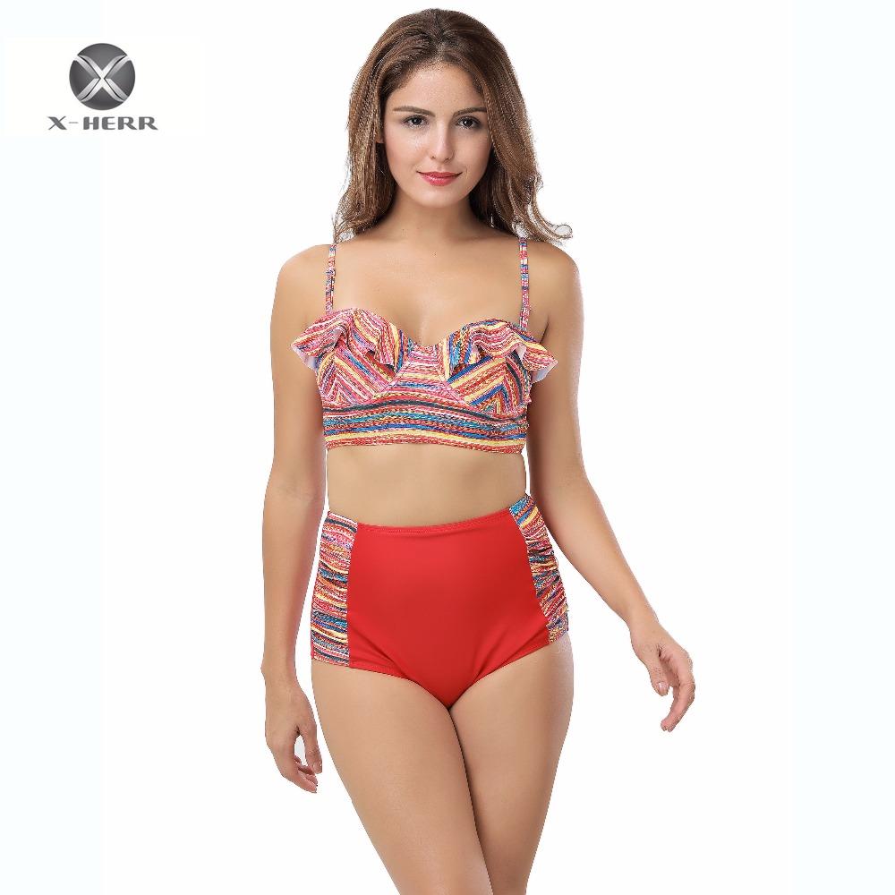 [해외]X-HERR Contrast Color 독점 디자인 비키니 하이 웨이스트 비치 섹시한 여성용 Ruffle BikiniWire & amp; 패드 밑면 비키니 세트/X-HERR Contrast Color Exclusive Design Bikini High W