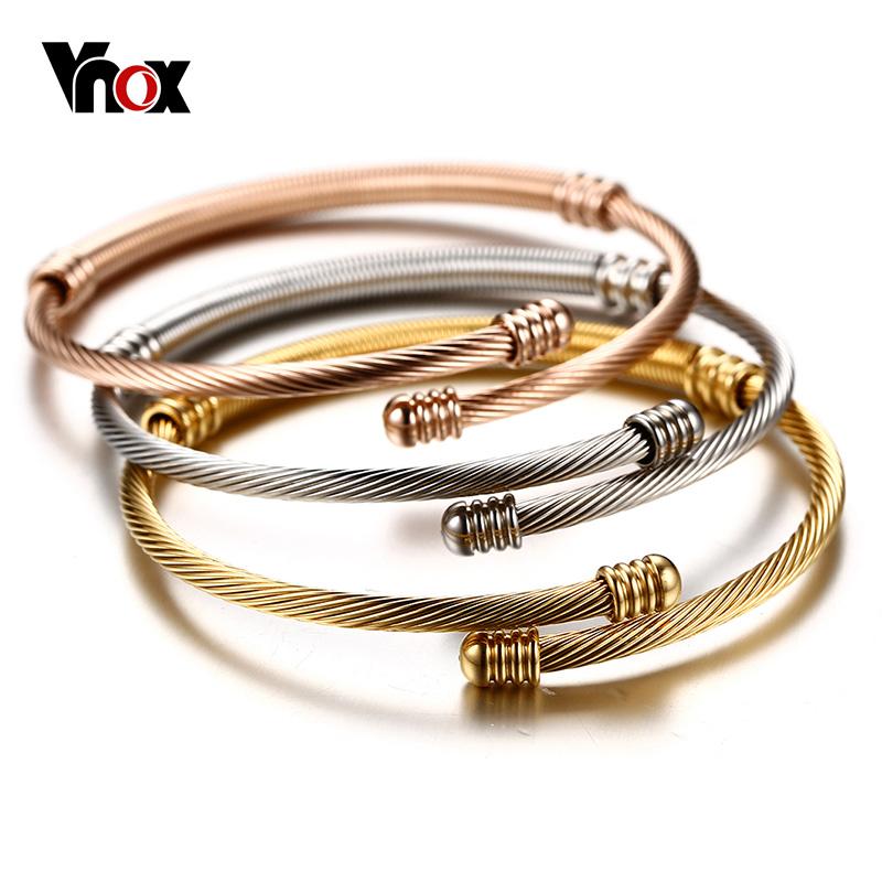 [해외]Vnox 스테인레스 스틸 트리플 3 개의 케이블 와이어 트위스티드 팔목 팔찌 팔찌 조정 가능한 팔찌 팔찌 3 색 설정/Vnox Stainless Steel Triple Three Cable Wire Twisted Cuff Bangle Bracelets Set f
