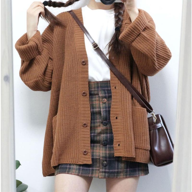 [해외]2019 Autumn and winter V-neck Solid Colors Loose Double Pocket Long-sleeved Women`s cardigan /2019 Autumn and winter V-neck Solid Colors Loose Dou