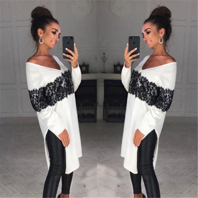 [해외]Long Style Ladies Women Long Sleeve Casual Sweater Asymmetric Loose Tops Lace Patchwork Pullovers/Long Style Ladies Women Long Sleeve Ca