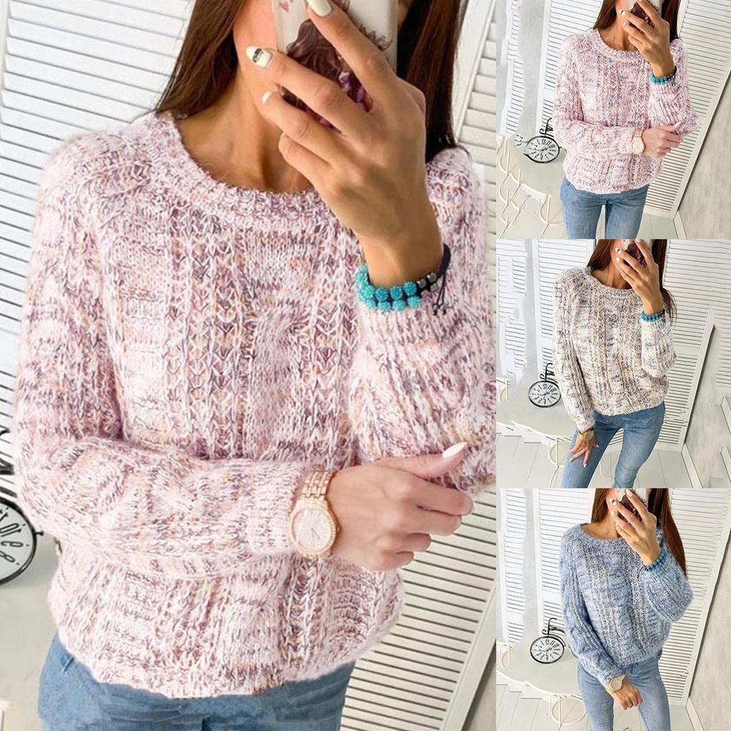 [해외]New Womens O-Neck Sweater Women Sweaters Fashion Jersey Women Winter 2019 Autumn Pullover Women Sweater Jumper Truien Dames new/New Wome