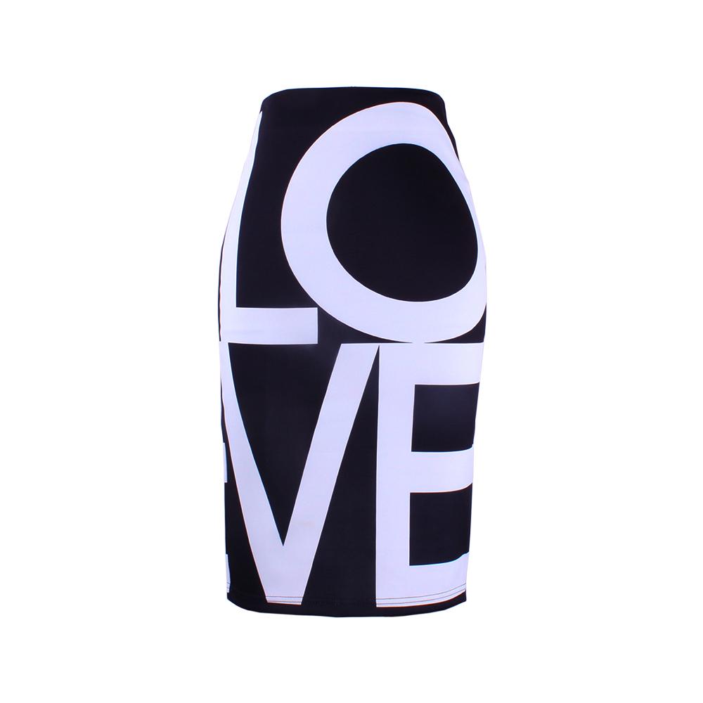 [해외]2017 패션 사랑 여성 연필 스커트 레이디 미디 saia 여성 faldas 큰 글자 인쇄 소녀 bodycon 하의/2017 fashion LOVE women pencil skirts  lady midi saia female faldas big letters P