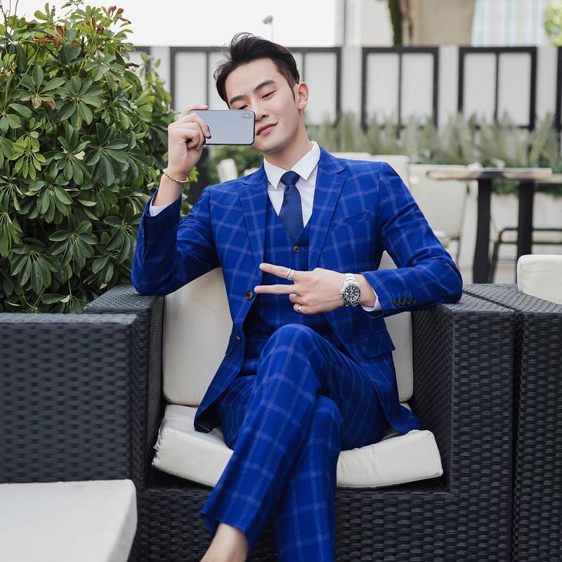 [해외]Jacket+Vest+Pants British style Classic blue striped Mens suit tailor slim fit Blazer wedding men suit 3pcs plus size 5XL/Jacket+Vest+Pants Britis