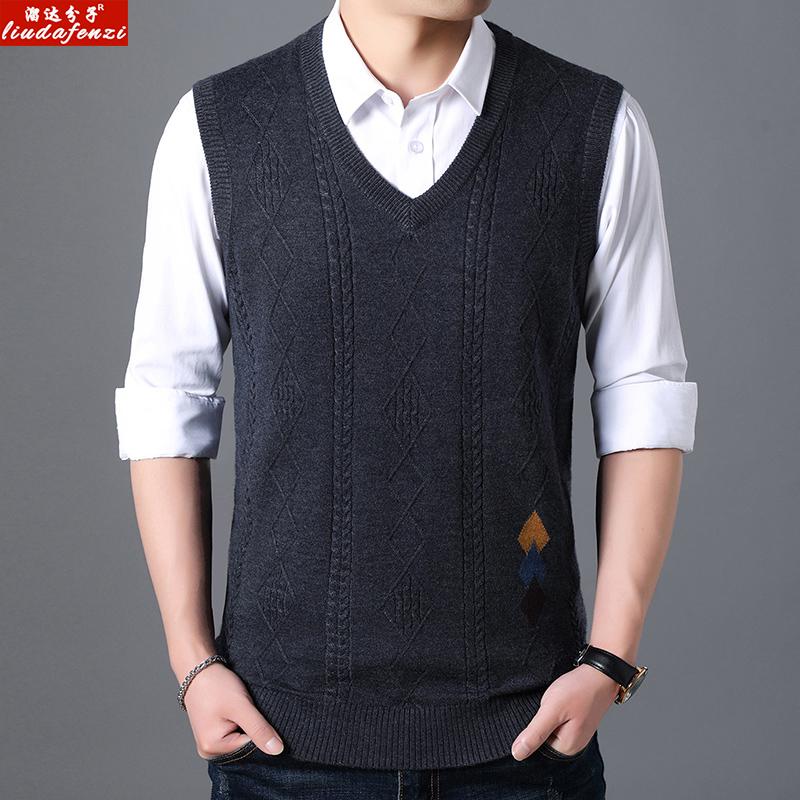 [해외]LIUDAFENZI Knitted cardigan vest, men`s autumn winter sleeveless sweater, old man`s father, sweater vest./LIUDAFENZI Knitted cardigan vest, men`s