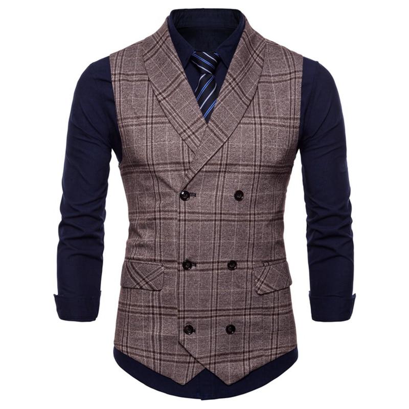 [해외]Business Vest Waistcoat Men 2019 New Style Features Plaid Men`s Casual Business Double-breasted Waistcoat  Suit Vest Men/Business Vest Waistcoat M