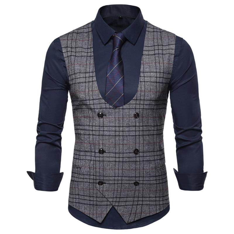 [해외]Suit Vest Men Spring Autumn 2019 New Men`s Casual U-neck Double-breasted Plaid Waistcoat Suit Vest/Suit Vest Men Spring Autumn 2019 New Men`s Casu