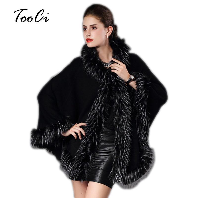 [해외] Faux Fur Coat Autumn Winter Warm Poncho Cape Hooded Long Knitted Cloak Wool Cashmere Sweater Women`s Cardigan Coat/ Faux Fur Coat Autumn Winter W