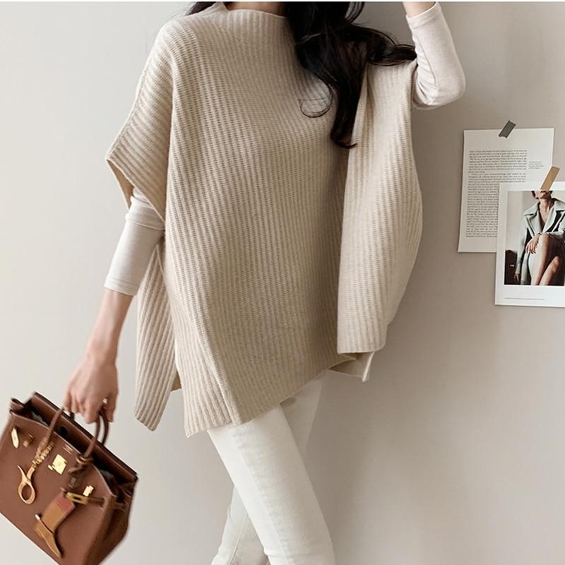 [해외]여성 망토 스웨터 가을 옷 니트 한국어 버전 패션 캐주얼 스웨터 여성 겨울 2019 짧은 소매 느슨한 분할/여성 망토 스웨터 가을 옷 니트 한국어 버전 패션 캐주얼 스웨터 여성 겨울 2019 짧은 소매 느슨한 분할