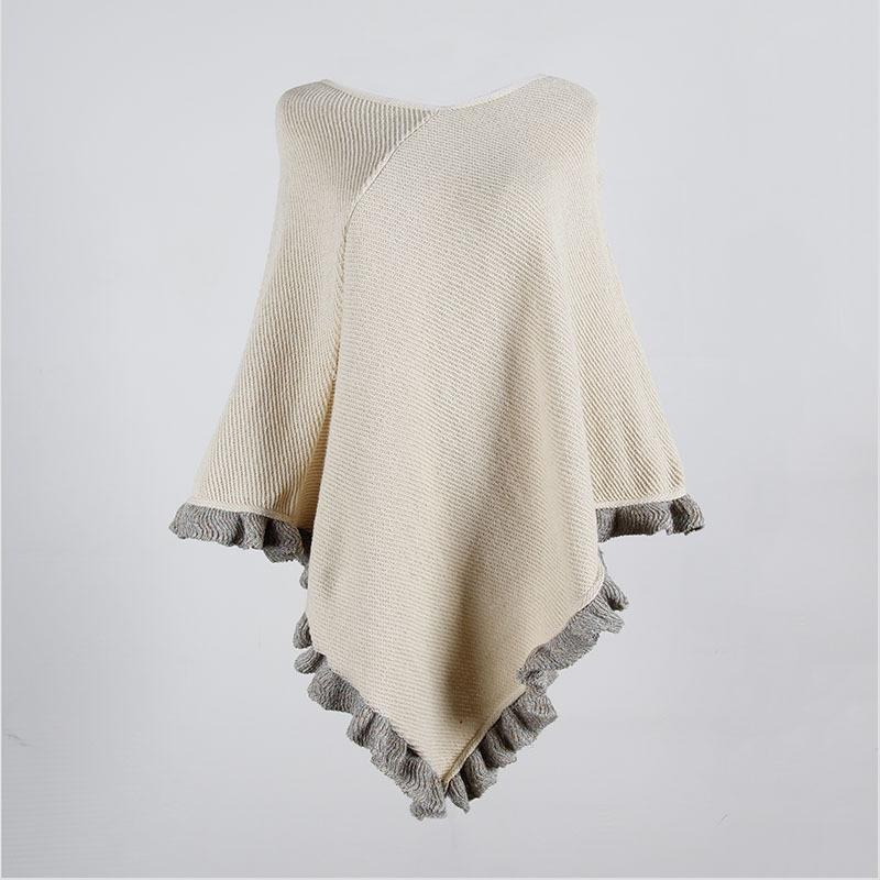 [해외]ZADORIN Women Sweaters And Pullovers Loose Overesized Solid Fringe Ruffle Sleeveless Knitted Sweater Retro Cape Overcoat Cloak/ZADORIN W