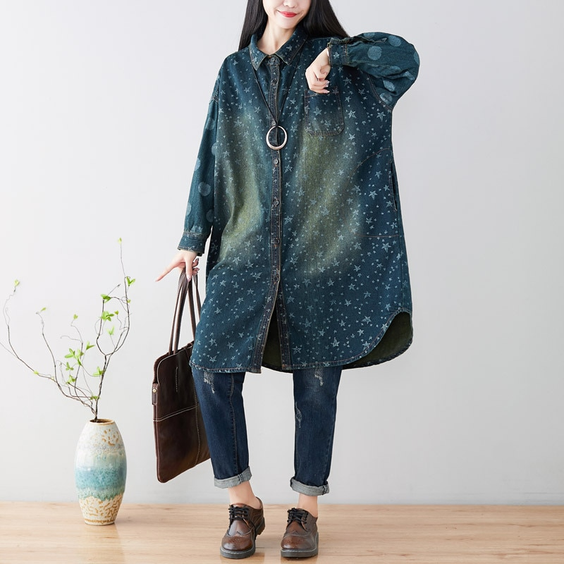 [해외]Women printed Loose Denim Jacket Ladies Plus Size Vintage Cute Stars Print Denim Coat Outerwear Female Bleached Denim Overcoat/Women printed Loose