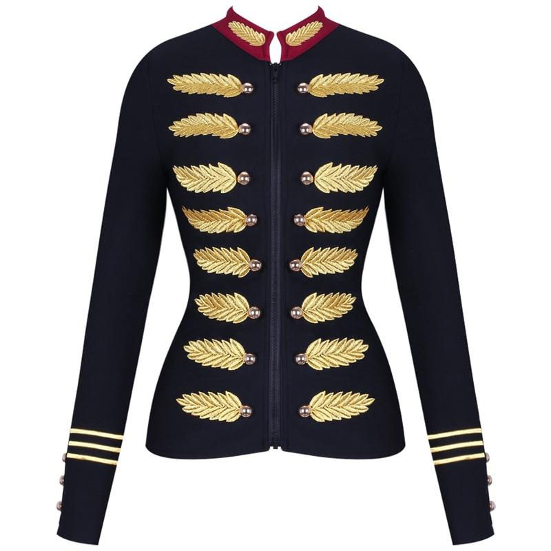 [해외]Ocstrade Black Stand Collar Long Sleeve Mini Metal Studded Fashion Bandage Jacket PM0501-Black/Ocstrade Black Stand Collar Long Sleeve M