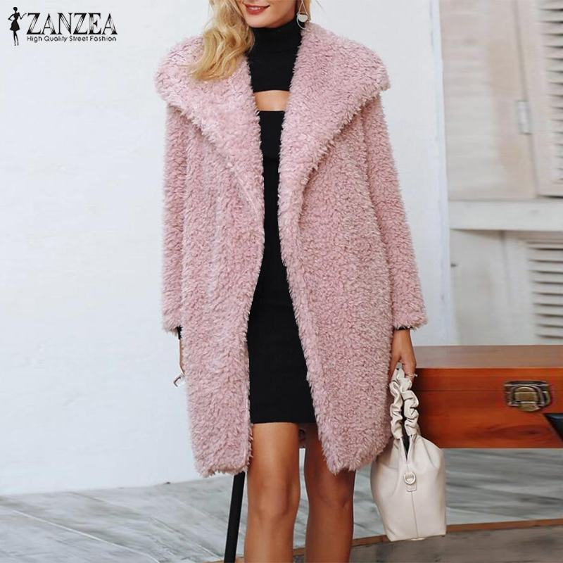 [해외]ZANZEA Winter Plush Fluffy Faux Fur Coats Women Lapel Neck Open Front Warm Jackets Solid Long Sleeve Overcoats Casual Outwear/ZANZEA Win