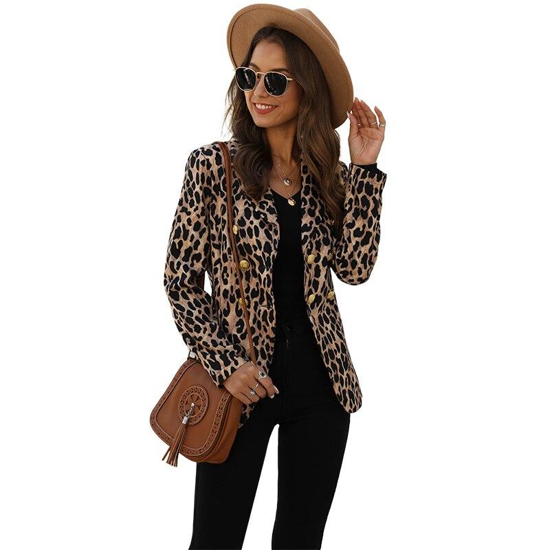 [해외]Womens Leopard Printed Jackets Coats Casual Business Suit Slim Fit Cardigan Sexy Fashion Lady Office Female Streetwear Autumn/Womens Leo