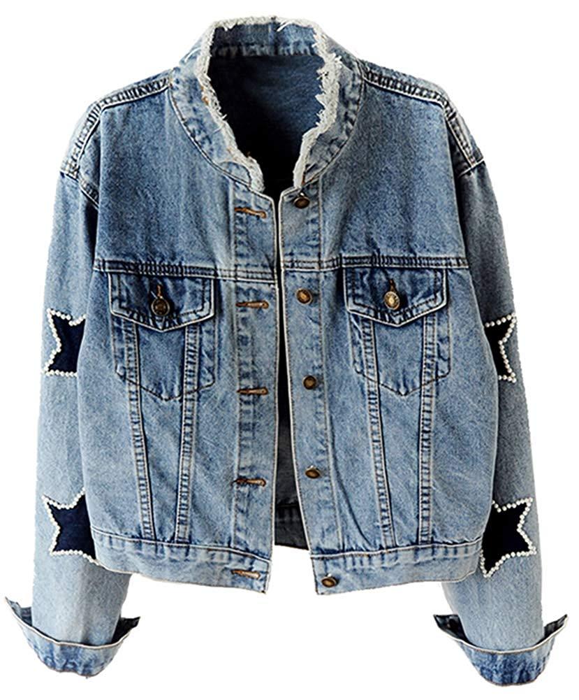 [해외]Womens Star Embroidered Rivet Pearl Denim Jacket Coat/Womens Star Embroidered Rivet Pearl Denim Jacket Coat