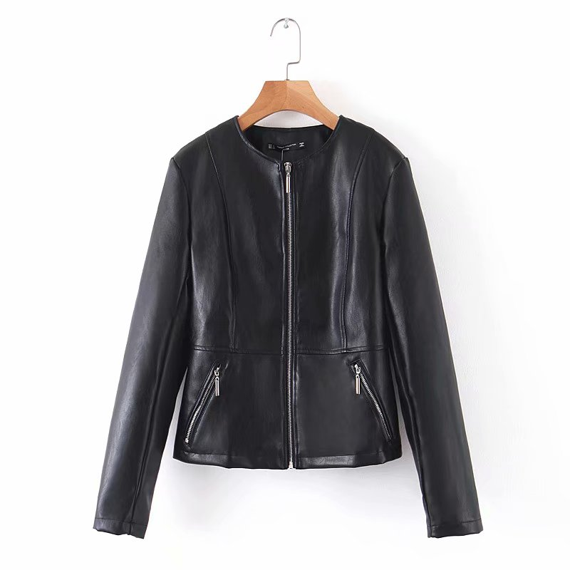 [해외]2019 Women Vintage o neck PU Leather jacket ladies long sleeve zipper pockets outwear Coat casual slim tops CT298/2019 Women Vintage o n