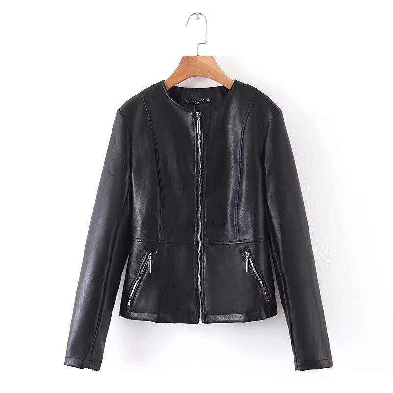 [해외]2019 Women Vintage o neck PU Leather jacket ladies long sleeve zipper pockets outwear Coat casual slim tops CT298/2019 Women Vintage o n
