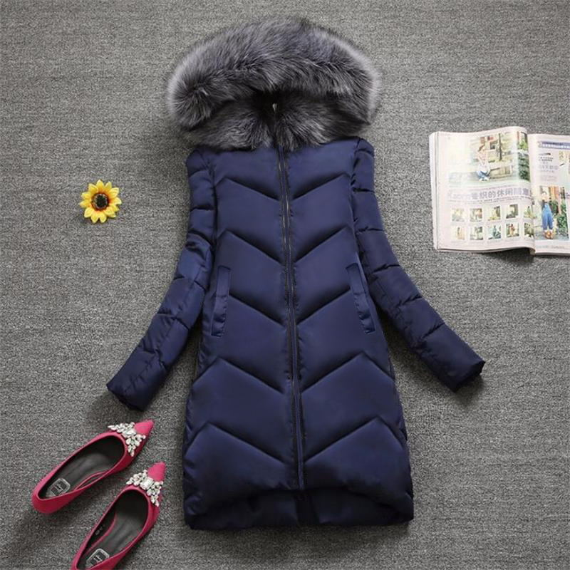 [해외]Plus size S-7XL Women Outerwear Big Fur Fashion Winter Hooded Coat casual Down Parka Female Winter Jacket Warm Long Overcoat/Plus size S