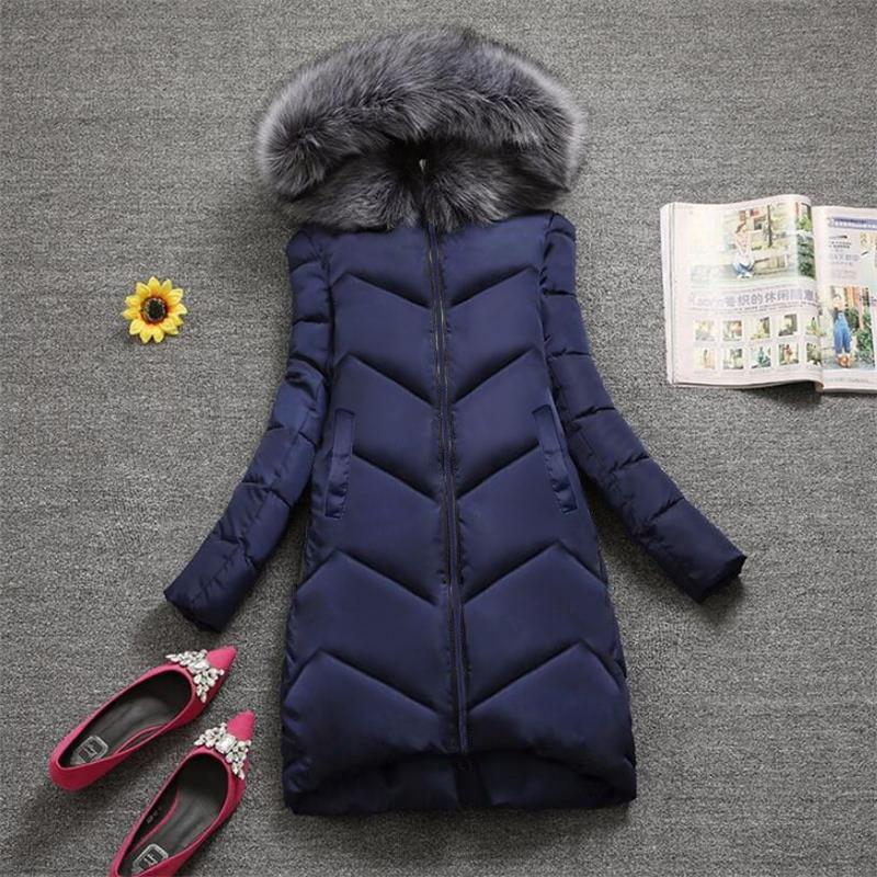 [해외]Plus size S-7XL Women Outerwear Big Fur Fashion Winter Hooded Coat casual Down Parka Female Winter Jacket Warm Long Overcoat/Plus size S