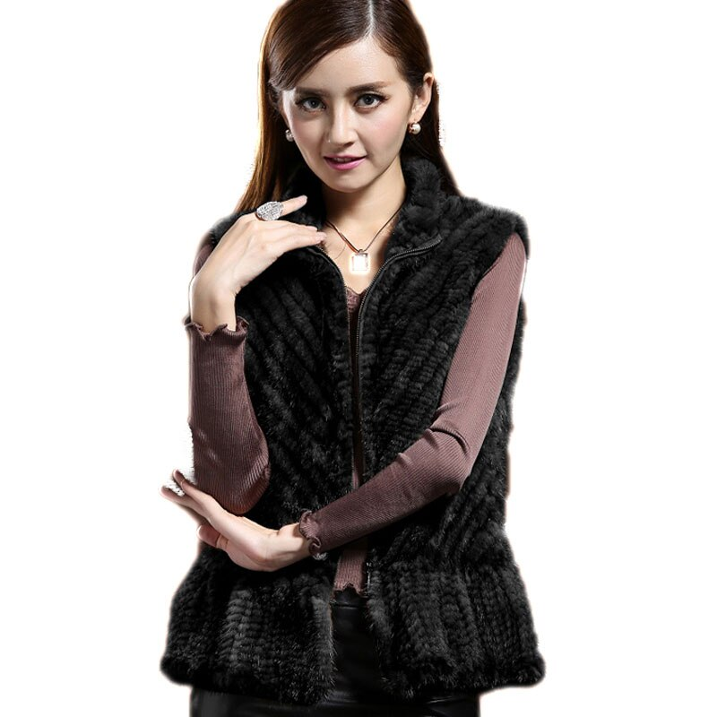 [해외]Female Genuine Import Mink Fur Vest Coat Women`s Suede Knit Waistcoast Lady Real Natural Fur Winter Warm Tops BLACK BROWN /Female Genuine Import M