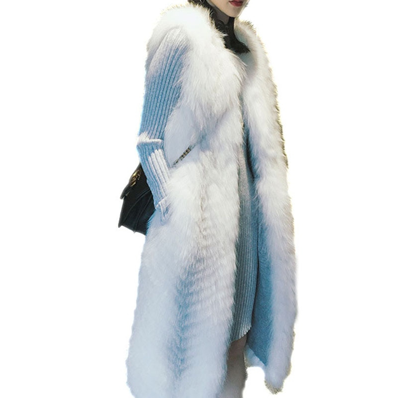 [해외]New Whole Leather Women Genuine Cross Fox Fur Vest Coat Lady Real Natural Fur Waistcoast Female Long Warm Silver Coats /New Whole Leather Women Ge