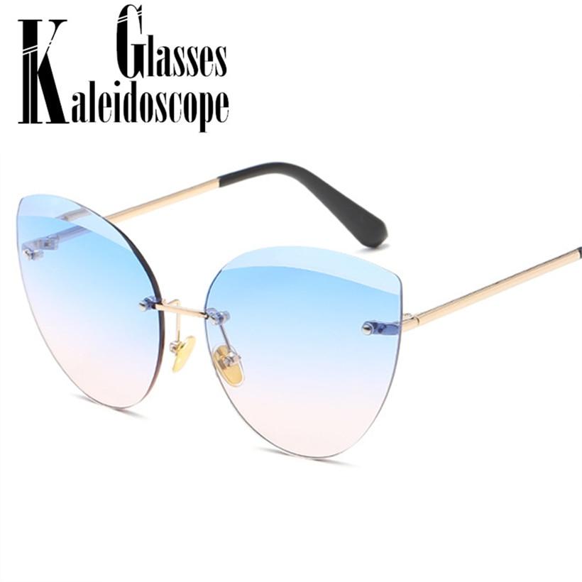 [해외]Rimless Sunglasses Women Vintage Brand Designer Cat Eye Sun Glasses Fashion Pink Glasses Frameless Trimming Ladies Eyewear UV400/Rimless Sunglasse