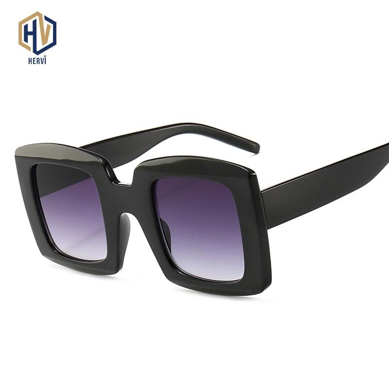 [해외]New Retro Square Sunglasses Women 2019 Brand Designer Oversized Sun Glasses Fashion Female Gradient Shades Oculos UV400/New Retro Square Sunglasse