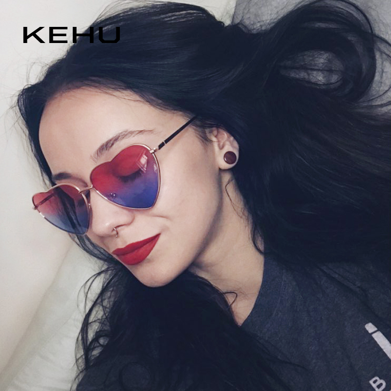 [해외]KEHU Heart Shaped Sunglasses Women Metal Frame Reflective Lens Sun protection Sunglasses Men Mirror De Sol Fashion k9073/KEHU Heart Shaped Sunglas