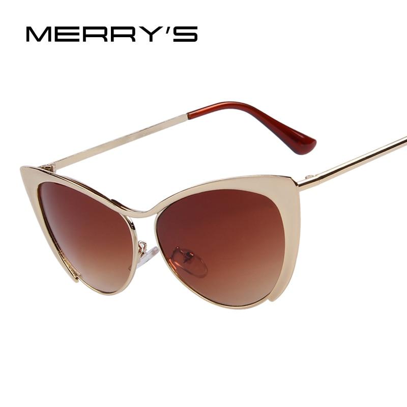 [해외]MERRY`S Brand Design Women Half Frame Cat Eye Sunglasses Fashion Vintage Alloy Cat Eye Sunglasses Blue Mirror 7 Color/MERRY`S Brand Design Women H