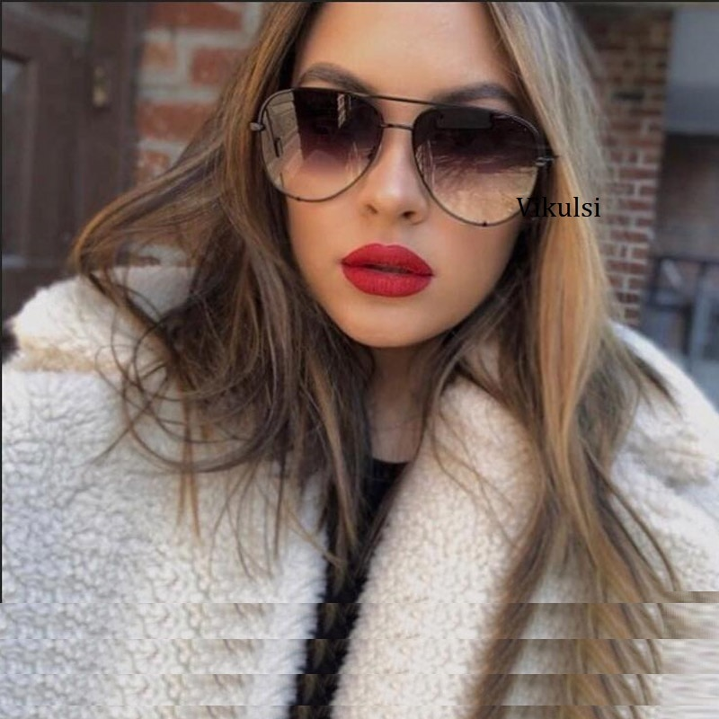[해외]Black Gradient Sunglasses Silver Mirror Metal Sun Glasses Brand Designer Pilot Sunglasses Women Men Shades Top Fashion Eyewear/Black Gradient Sung