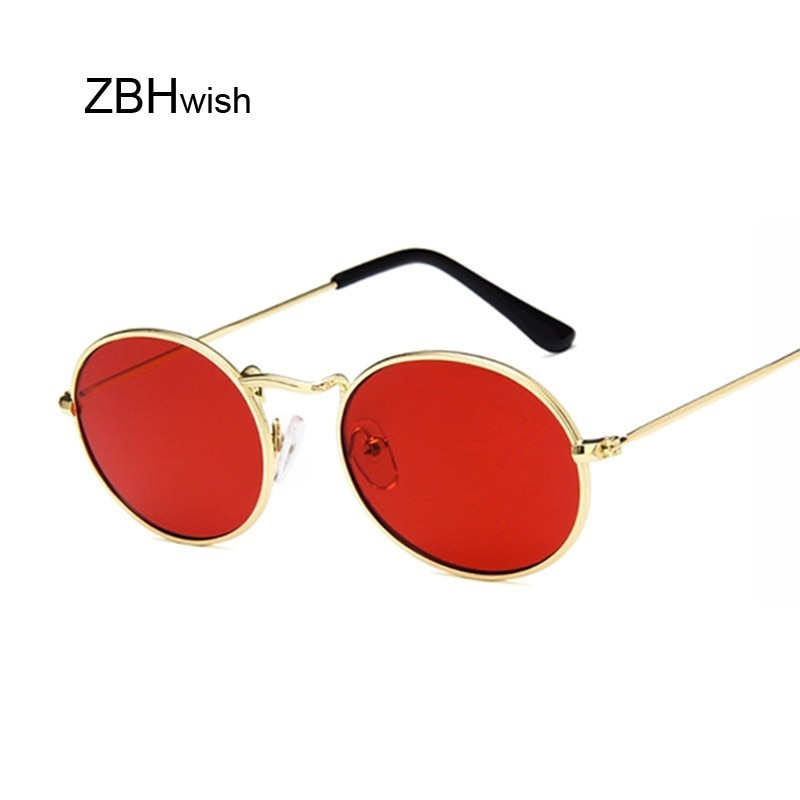 [해외]Retro Oval Sunglasses Women 2019 Luxury Brand Designer Vintage Small Black Red Yellow Shades Sun Glasses Female Oculos UV400/Retro Oval