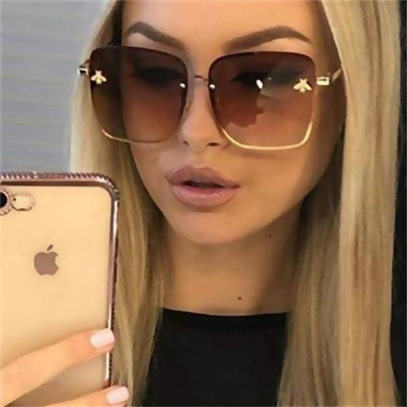 [해외]TOYEARN Luxury Brand Design Lady Oversize Rimless Square Sunglasses Women Small Bee Glasses Gradient Sun Glasses For Female/TOYEARN Luxu