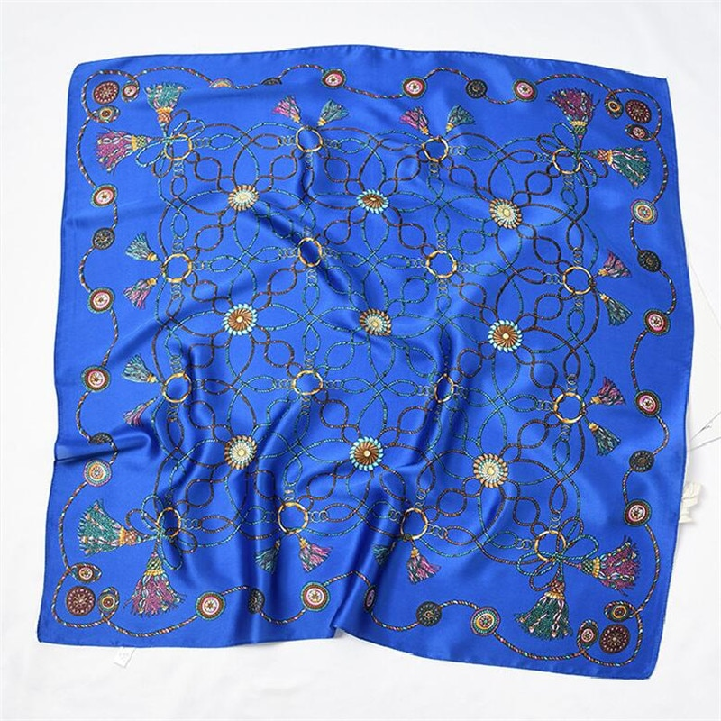 [해외]/New Silk Scarf 70cm Fashion Line Chain Patchwork Prints Women Shawl Satin Small Squares Head Bag Decorative Scarves Wraps Ties