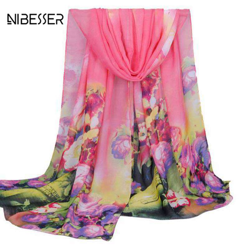 [해외]/NIBESSER Woman Scarves Flower Print Long Chiffon Shawl Female Scarves Comfortable Woman Scarf Spring And Summer Fashion New