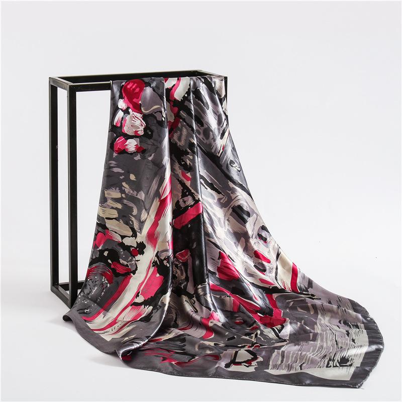 [해외]Fashion 2019 new women scarves square large size smooth print silk shawl wrap lady pashmina Handkerchief satin hiabs 90*90cm/Fashion 2019 new wome