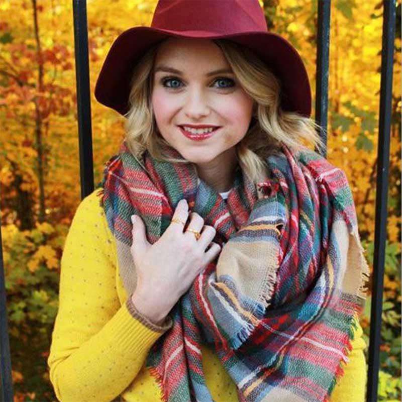 [해외]Women Female Girl Korea Fashion Winter Spring Long Scarves Shawl Flower Wool Warm Wrap Square Stripe Elegant Blanket Scarf sjaal/Women Female Girl