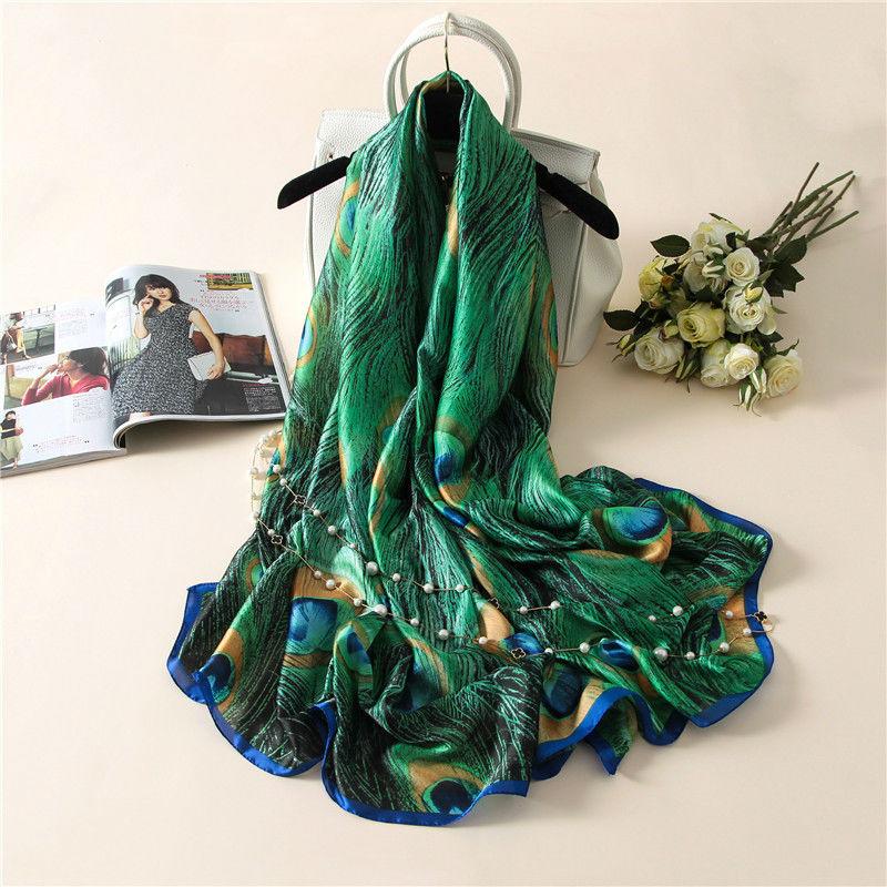 [해외]2019 Latest Lovely Animal Green Peacock Feather Silk Shawl Scarf Spain Luxury Brand Beach Bandanas Foulard Sjaal Wrap Hijab Caps/2019 La